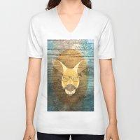 kangaroo V-neck T-shirts featuring Kangaroo by Janice