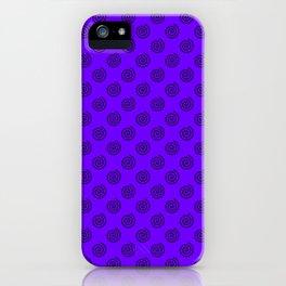 Black on Indigo Violet Spirals iPhone Case