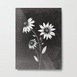 Wildflowers Ink Drawing | Black Background Metal Print