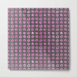 Neon Pink Scribble Pattern Metal Print