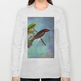 Eastern Kingbird and Sassafrass, Antique Natural History Art Collage Long Sleeve T-shirt