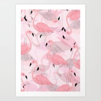 flamingo Art Prints featuring Flamingo Pattern by Georgiana Paraschiv