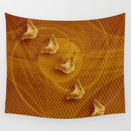 Butterflies, fractal and chevron design in copper Wall Tapestry