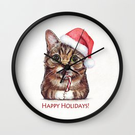 Cat in Santa Hat with Candy Cane Funny Christmas Animal Wall Clock