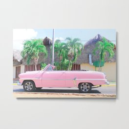Pink Vintage Car in Havana Metal Print