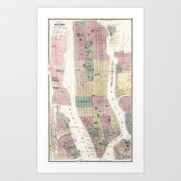 Map of New York and Vicinity (1869) by Matthew Dripps Art Print