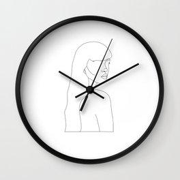"""Cold Shoulder"" Woman Minimal Line Drawing Wall Clock"