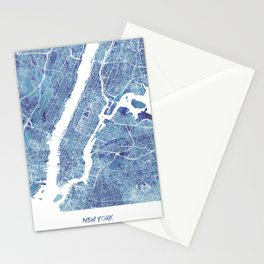 New York City Map United states watercolor Stationery Cards