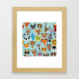 Seamless pattern cute face funny animals on blue background. Vector Framed Art Print