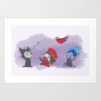 cartoons Art Prints featuring Disney's & other cartoons Fan-Art - Evils by Kiwii Illustration