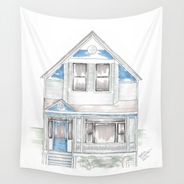 Blue Folk Victorian House Wall Tapestry