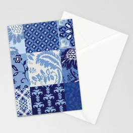 Blue and White Patchwork Squares Stationery Cards