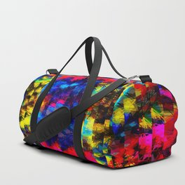 psychedelic geometric painting abstract pattern in red pink blue yellow Duffle Bag