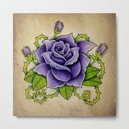 Purple Rose - Tattoo Art Metal Print