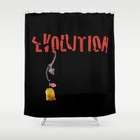 evolution Shower Curtains featuring EVOLUTION. by alex preiss