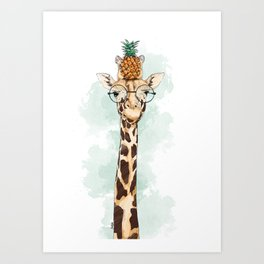 Intelectual Giraffe with a pineapple on head Art Print