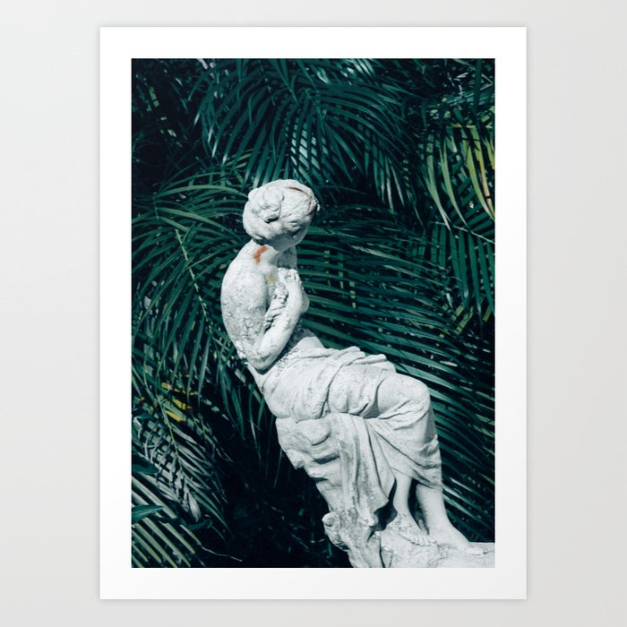 Statue with Palms Art Print