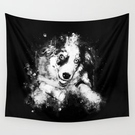 australian shepherd aussie dog puppy splatter watercolor black white Wall Tapestry