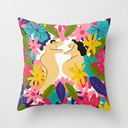 Couple Flowes Throw Pillow
