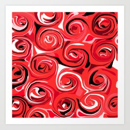 Red Apple Abstract Swirls Pattern Art Print