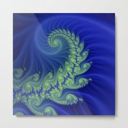 blue and green spiral Metal Print