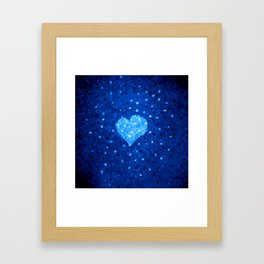 Winter Blue Crystallized Abstract Heart Framed Art Print