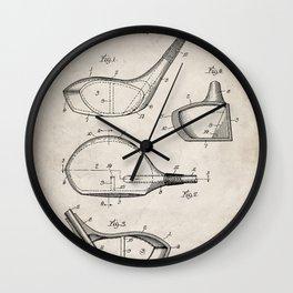 Golf Driver Patent - Golf Art - Antique Wall Clock