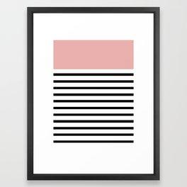 Pinstripe Color Block (Coral) Framed Art Print