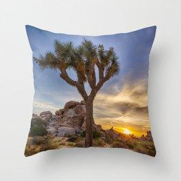 Charming sunset at Joshua Tree National Park Throw Pillow