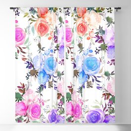 Elegant girly pink teal lilac watercolor floral Blackout Curtain