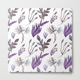 Cute Watercolour Botanical Pattern Metal Print