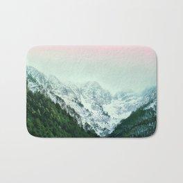 Snowy Winter Mountain Landscape with Alpenglow Bath Mat