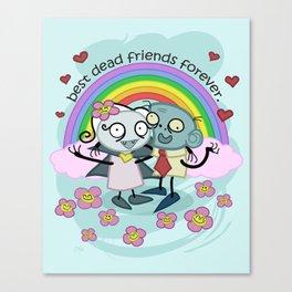 Best Dead Friends Forever - Steve the zombie & Violet the vapire Canvas Print