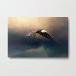 Painting flying american bald eagle Metal Print