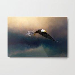 Painting flying american bald eagle Metal Print
