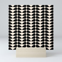 Mod Leaves Mid Century Modern Abstract Pattern in Black and Almond Cream Mini Art Print