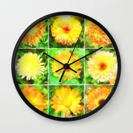 Watercolour Collage of Yellow And Orange Marigolds Wall Clock