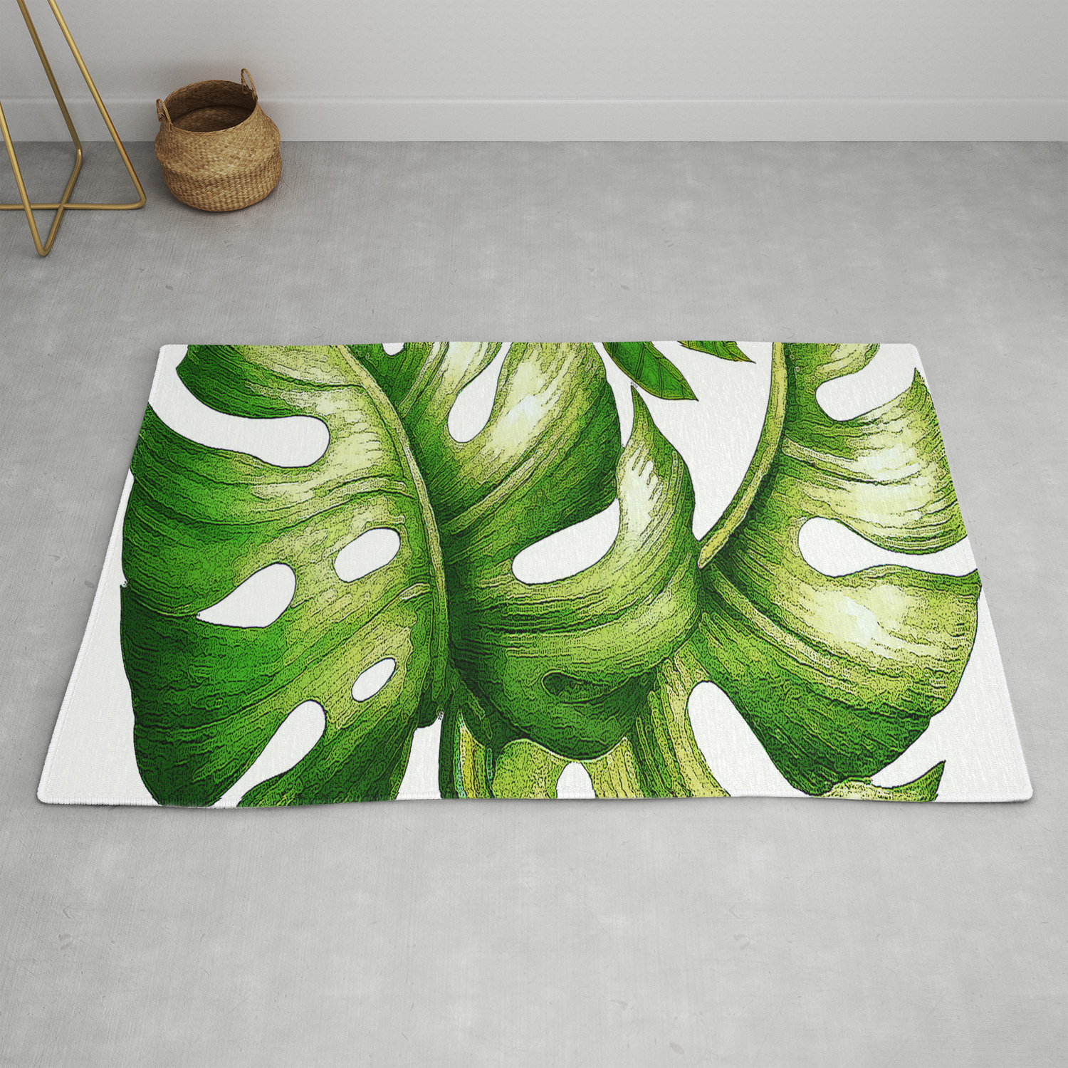 Large Green Tropical Leaves Rug By