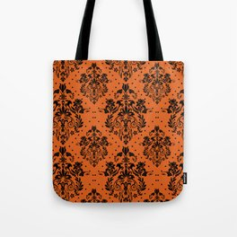 Vintage black orange halloween floral damask Tote Bag