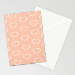 Valentine's Day pattern with white hearts on light blush Stationery Cards