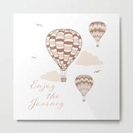 Enjoy the Journey - Beige Hot Air Balloons Metal Print