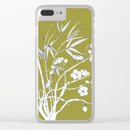 bamboo and plum flower in white on yellow Clear iPhone Case