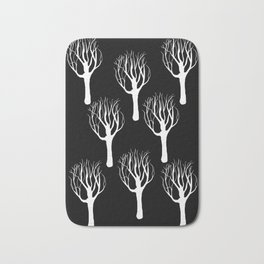 Black and White Forest Print Bath Mat