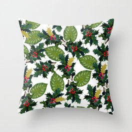 Christmas faux gold red green holly leaves floral Throw Pillow