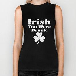 Irish You Were Drunk Clover Funny St Patricks Day Biker Tank
