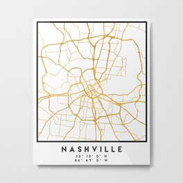 NASHVILLE TENNESSEE CITY STREET MAP ART Metal Print