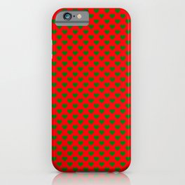 Large Green Hearts on Christmas Red iPhone Case
