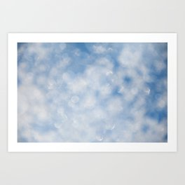 Blue white sparkles bokeh abstract Art Print