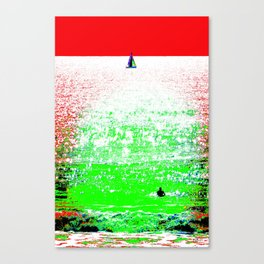 Sailboat and Swimmer (2a) Canvas Print