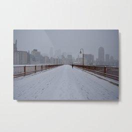 Minneapolis Snowfall Metal Print